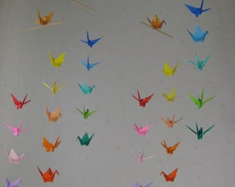 "34 Small Origami Cranes Mobile - Rainbow Color, folded from 2.8"" to 3"" Solid and Washi Chiyogami, Home Decor, Nursery Decor, Baby Mobile"