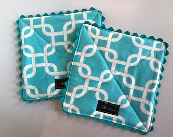 Turquoise Squares Pot Holder, Set of 2