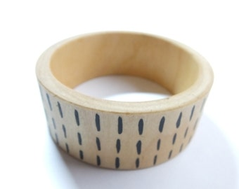 Scandinavian Wooden Bangle, Grey Cuff Bracelet, Quirky and Wide