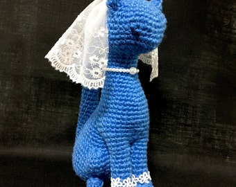 Amigurumi Cat / Crocheted Cat --- Classy Cat - Blue Bride