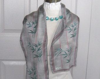 oblong scarf .  scarf .  bamboo scarf . silk scarf grey silk scarf . fringed silk scarf . desco . desco scarf