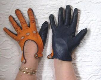 orange and blue  Kid Leather Gloves . kid gloves . orange and blue driving  gloves . driving gloves