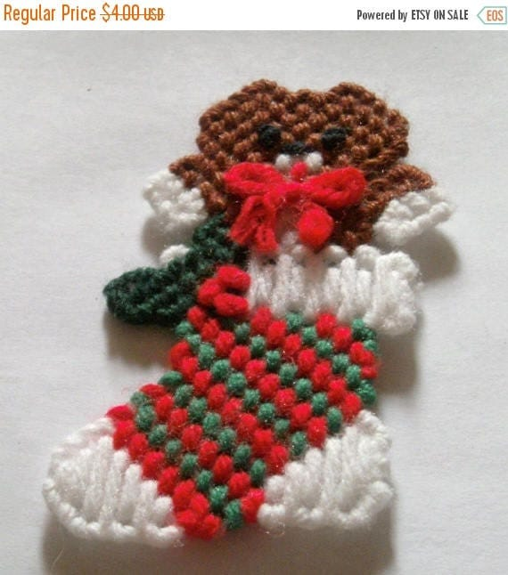 Spring Sale Christmas Cat Magnet - Plastic Canvas Magnet - Cat In Stocking - Brown Cat Magnet - Holiday Kitty Cat - Stocking - Cat Kitchen M