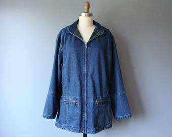 vintage denim hooded jacket / plaid lined detachable hood slouchy jacket / large