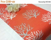 """ON SALE NOW Sample Sale Runner-- 25"""" Coral Branches on salmon Table Runner Beach Nautical Wedding Home Decor rpst"""