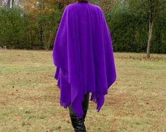 Purple Anti Pill Fleece Shawl, Poncho, Blanket Scarf, Cape or Wrap with Fringe--One Size Fits Most