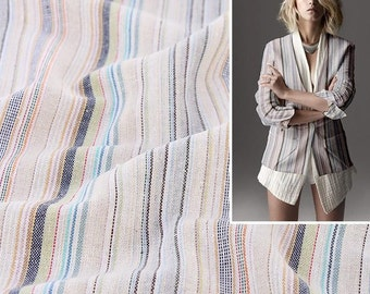 4450 - Colorful Stripe Yarn-Dyed Cotton Linen Blend Fabric - 57 Inch (Width) x 1/2 Yard (Length)