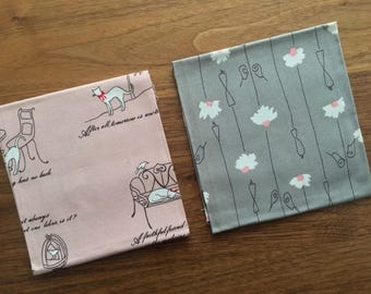 SET of 2 Pieces Japanese Import Cotton Fabric - 19 Inch x 13 Inch ( 50 cm x 35 cm)  EACH