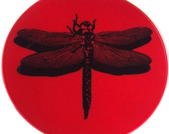 Red Silicone Round Dragonfly Kitchen Hot Pad Table Decor Table Mat Table Trivet