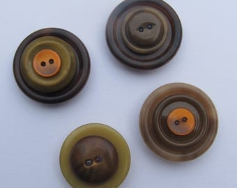 Stacked Button Magnets - Set of 4 - Hues of Brown