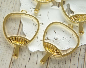 4 pcs  Open Back Bezel Charms for Resin /Japanese Fan / Yellowish Gold /Large size (33mm42mm)  AZ378