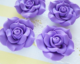 2 pcs Huge Polymer Clay Rose Cabochon (40mm) Purple FL270
