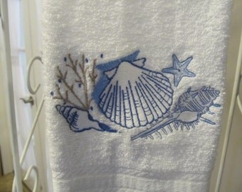 Embroidered Hand Towel with Sea Shells