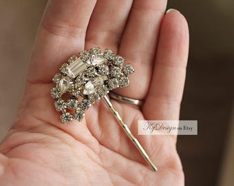 KgDesign VIntage hair pin, rhinestone