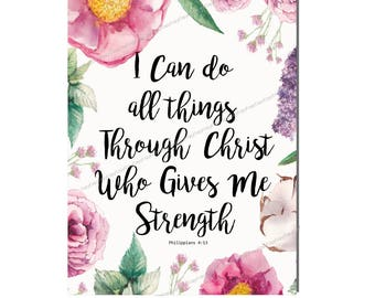 Instant Download - I Can Do All Things Through Christ - Bible Verse -  Digital Collage Sheet -Collage Sheet - Printable Download