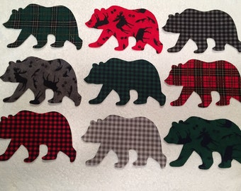 Set of 9 Flannel Bear Iron-On Appliques for Rustic Quilt