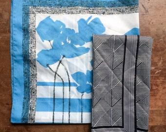 Vintage Scarf Pairing, Blue, Black, and White Pop Art
