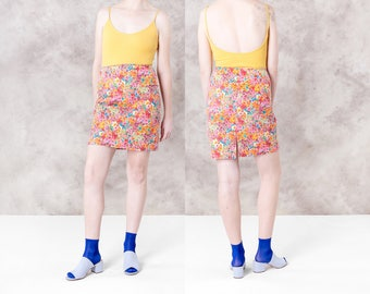 COTTON mini SKIRT floral FLOWER print Colorful summer women Stretchy bodycon spring vintage / Medium Large / better Stay together