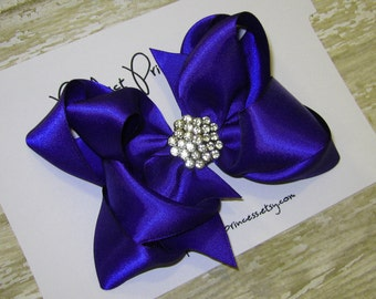 Large Royal Blue 5 inch Double Layer Satin Boutique Hair Bow Clip Rhinestone Center Bling Sparkle Girls Big Pageant Hairbow