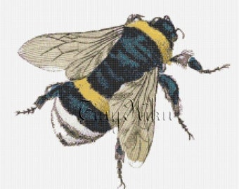 BUMBLE BEE Vintage  Cross Stitch Pattern Chart PDF Instant Download Colored Blocks Counted Cross Stitch