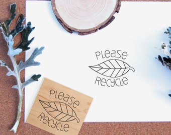 Please Recycle Rubber Stamp  - Handmade by BlossomStamps