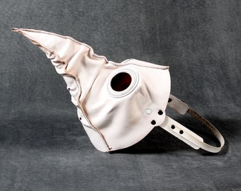 Jackdaw leather plague doctor mask in white