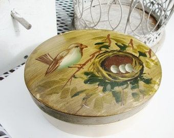 vintage oval box hand painted bird and nest paper mache