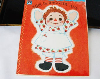 vintage raggedy ann real cloth wipes clean whitman children book mint old stock
