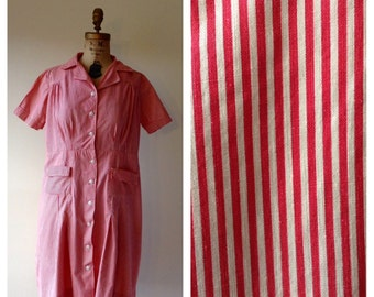 Memories Are Made of This Dress - 40's red and white house dress - 1940s striped dress