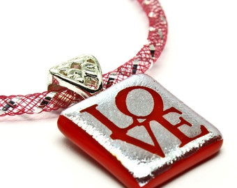 Love Necklace, Dichroic Pendant, Red Necklace, Fused Glass Jewelry, Romantic Gift, Valentines Day,  Made in USA, One of a Kind, Love Jewelry