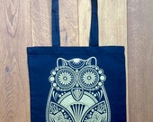 CLEARANCE SALE 75% OFF *** Sugar Owl Hand Screen Printed black Tote Bag With Gold Print ***