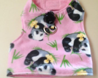 XS Pink Printed Flannel-Dog Harness Vest-Chihuahua Clothes-Yorkie -Small Dog Clothes-