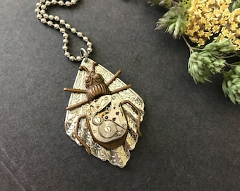 Beetle Necklace, Steampunk Necklace, Victorian Beetle, Entomologist Lover, Bug Jewelry, Bold Cosplay, Gothic Necklace, Vintage Watch Parts