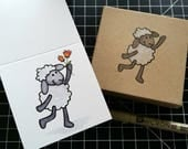 Playful Sheep - Hand Carved Rubber Stamp