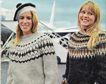 "Icelandic ""Lopi"" Two Sweater Patterns & Hat -  PDF - Retro 60's with a Bohus / Fair isle  type design, Scandanavian style."