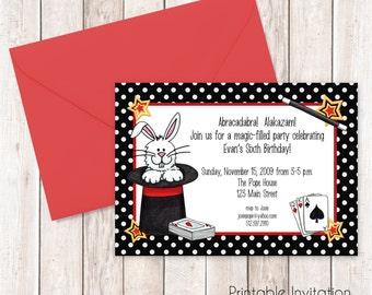 Magic Party Invitation, Printable Invitation Design, Custom Wording, JPEG File