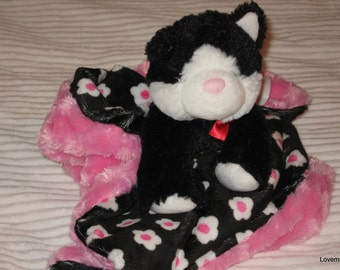 Security Blanket, baby blanket, luvi, lovie - black kitten lovems