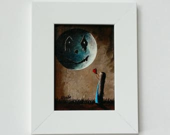 Miniature Canvas Print - ACEO - Framed Canvas Print - Comes With Frame - Gothic - Gothic Art - Gothic Prints - Cute Girl with Moon Friend
