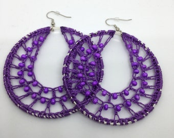 Crochet earrings, Beaded, silver, bohemian jewelry, crochet hoops, beaded earrings, crochet jewelry, hoop earrings, boho chic, purple