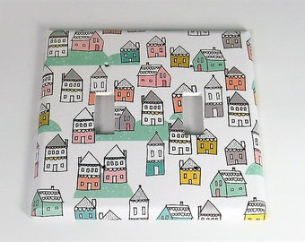 Double Switch Plate Light Switch Cover in Tiny Town (287D)