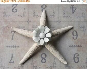 ON SALE Vintage White Metal Daisy Brooch Pin Jeweled Starfish, Inspirational Bridal Gift, Beach Wedding Cake Decor, Beach Cottage Coastal St