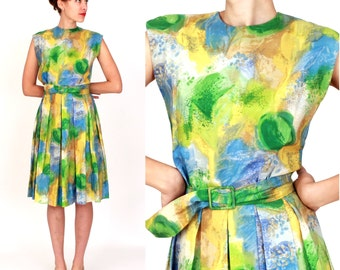 Vintage 1950s Silk Green, Yellow and Blue Watercolor Sleeveless Party Dress with Pleated Skirt and Matching Belt | Medium