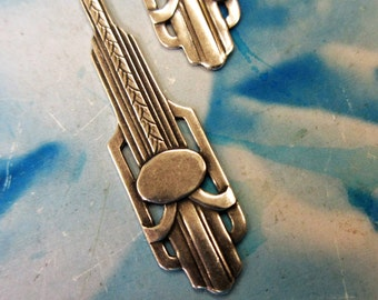Sterling Silver Ox Plated Art Deco Style Brass Drops 836SOX x2