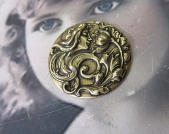 Brass Ox Plated Art Nouveau Women and Flower Stamping 749BOX x1