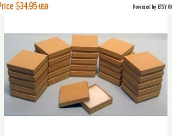Spring Sale 10% off 100 Pack Kraft 3.5 X 3.5 X 1 Inch  Size Cotton Filled Jewelry Presentation Gift Boxes