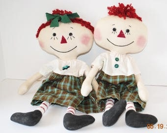 """Primitive Lil Raggedy Dolls, 18"""" Anne and Andy type rag doll set, Green Homespun"""