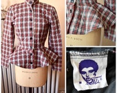 Betsey Johnson Punk Label | Vintage 1980's Red Plaid Circle Peplum Jacket Button Front Nipped Waist Band Collar Diamond Quilted