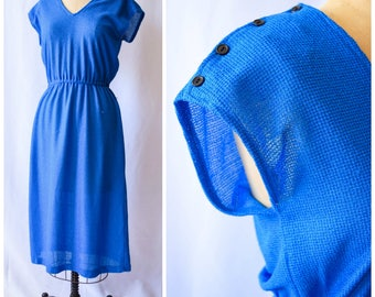 Azure Skies | Vintage 1970's Midi Dress Electric Blue Knit Dress with Elastic Waist V-Neck Side Seam Buttons and Shoulder Buttons Size M