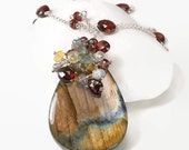 Season Clearance Sale Labradorite, Garnet, Ethiopian Opal, Moss Aquamarine, Clear Quartz pendant necklace ... NURI Necklace