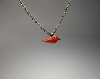 Tiny Red Bird Necklace - Cardinal Necklace - Polymer Clay Jewelry